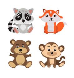 cartoon of seven baby animals racoon vector image vector image