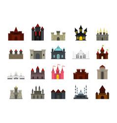 castle icon set flat style vector image