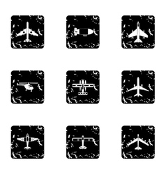 Combat aircraft icons set grunge style vector