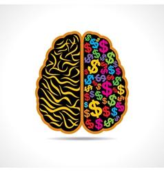 Conceptual idea -brain with dollar symbol vector