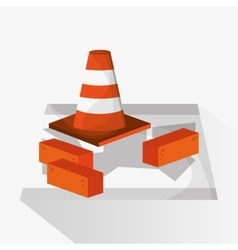 Cone and brick of under construction design vector