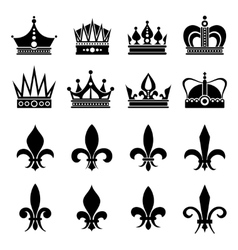 Crown and fleur de lis lily flowers icons vector