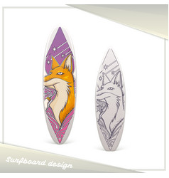 Design surfboard fox vector