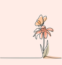 Drawing of beautiful flower with butterfly vector