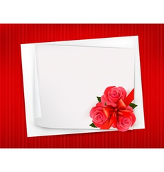 Holiday background with sheet of paper and red vector image vector image