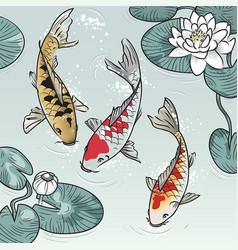 koi-fish among water-lilys vector image