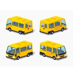 Low poly yellow passenger minivan vector image