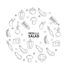 Monochrome silhouette poster of fresh salad with vector