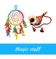 Native american and shamanic magical supplies vector