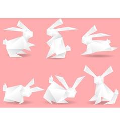 paper rabbits vector image