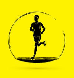 Running man sport man sprinter marathon runner g vector