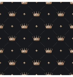 Seamless gold patter and king crown with diamond vector image vector image