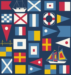 Seamless pattern with nautical flags vector image