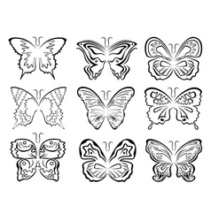 Set of six black butterflies contours over white vector image vector image