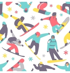 Snowboard seamless pattern vector image