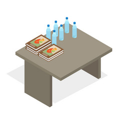Table with books and water bottles vector