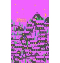 The greeting card with a village of a one-story vector