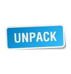 Unpack square sticker on white vector