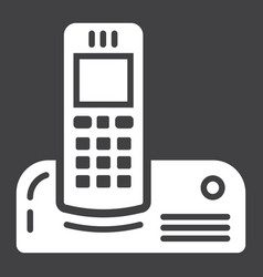 Wireless telephone solid icon household appliance vector