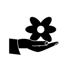 Women day hand holding flower pictogram vector