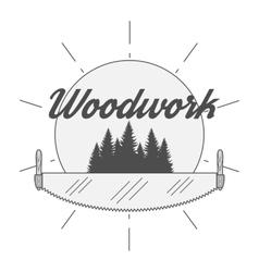 Woodwork industry badge vector