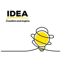 Yellow color light bulb with black wire a vector