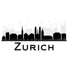 Zurich City skyline black and white silhouette vector image vector image
