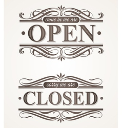 Open and closed - ornate retro signs vector