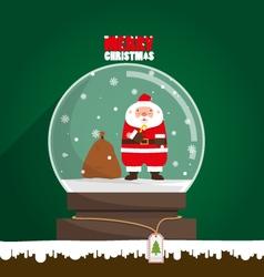 Merry Christmas Santa Claus in snow globe vector image