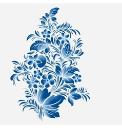 Blue flower ornament gzhel russian style vector