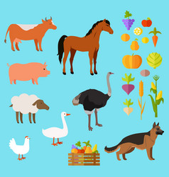 Domestic animals set near fruit and vegetable vector