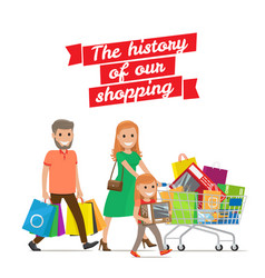 History of our shopping family with cart set vector