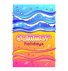 Summer holidays sea surf on sandy beach stylized vector
