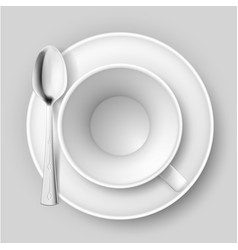 Empty cup with spoon on saucer on white vector