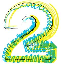 Sketch font Number 2 vector image