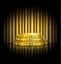Empty stage with golden spotlight background vector
