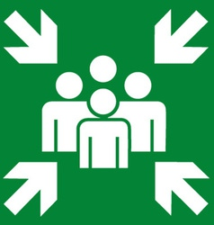 Fire evacuation meeting point sign vector