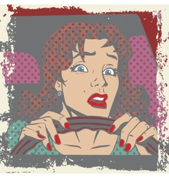 Scared woman driver behind the wheel of a car pop vector