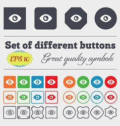 Eye publish content icon sign big set of colorful vector