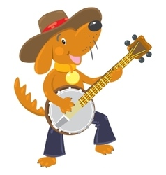 Funny brown dog plays the banjo vector