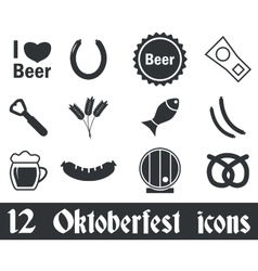 12 oktoberfest icons set vector