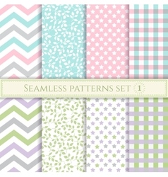 Set of seamless patterns in pastel colors for vector