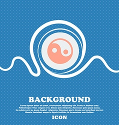 Ying yang sign icon blue and white abstract vector