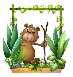 A beaver holding a wood vector image