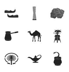 Arab emirates set icons in black style big vector