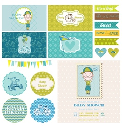Baby Shower Bicycle Party Set vector image vector image