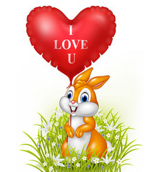 cartoon rabbit holding red heart balloon vector image