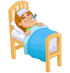 cartoon Sick girl in bed vector image