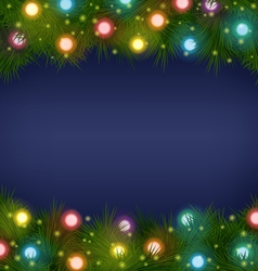 Christmas lights on pine on blue vector image vector image