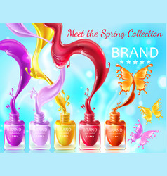 Cosmetic background with butterflies from nail vector
